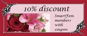 PJs Flowers coupon for SmartFem members
