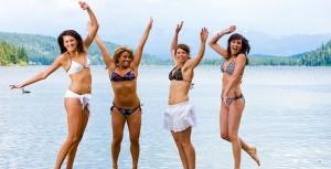 bikini girls jumping in the air