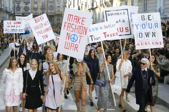 The feminist protest that took place after the Chanel Paris Fashion Week 2014 runway show both inspired and sparked controversy.