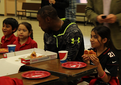 Patrick Peterson Pizza Party at San Marcos Elementary School