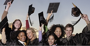 Graduates Lifting Mortarboards