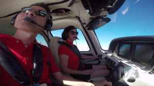 Debby Gaby with Chuck Lapmardo in a Cirrus SR22 at Elite Flight Training in Scottsdale