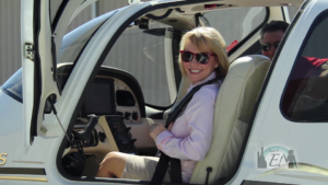Lea Woodford with Chuck Lapmardo in a Cirrus SR22 at Elite Flight Training in Scottsdale
